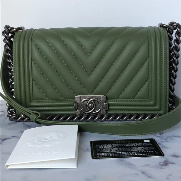 2e75bd165e1 CHANEL Bags   Preloved Boy Bag Veau Olive Old Medium   Poshmark